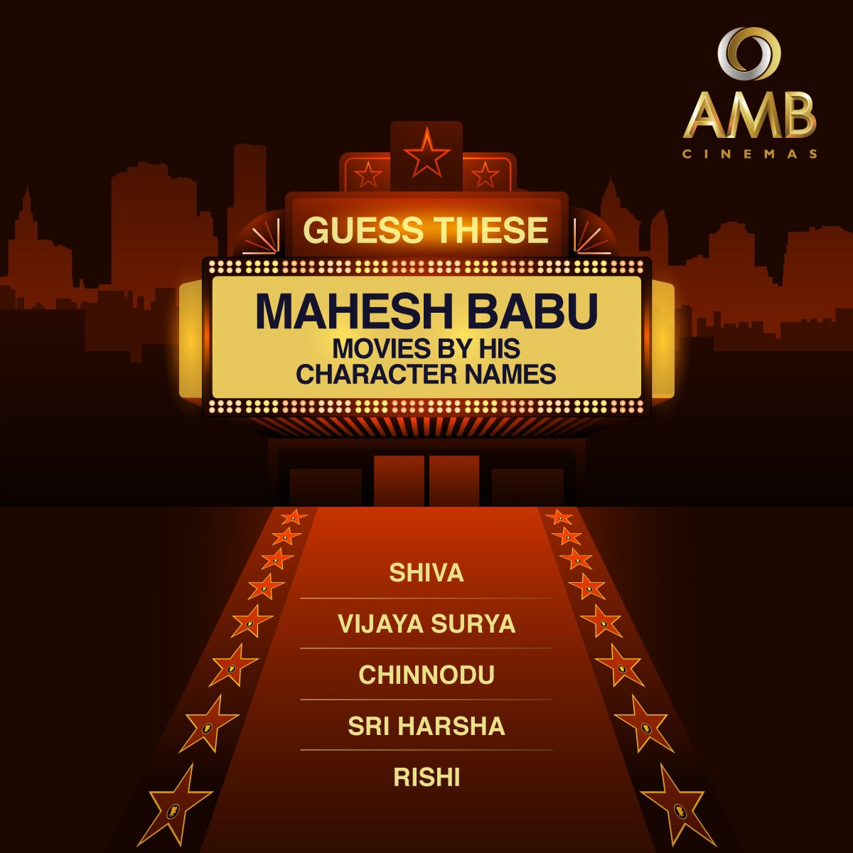 Can you guess all of them correctly? Comment your answer below and tag a Mahesh Babu fan you know!🤩 #GuessTheMovie #MaheshBabu #CharacterNames #Puzzle #MovieMagic #AMBCinemas https://t.co/c0R2akJQ6b