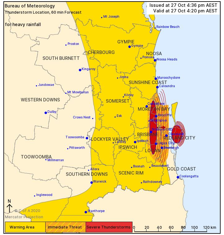 QLD RAIN: I an one hour period 80mm has been recorded at Beachmere  48mm was recorded at Kalbar  62mm was recorded at Helidon  70mm was recorded at Upper Lockyer 57mm in 30 minutes) https://t.co/BMCrvpMvrH