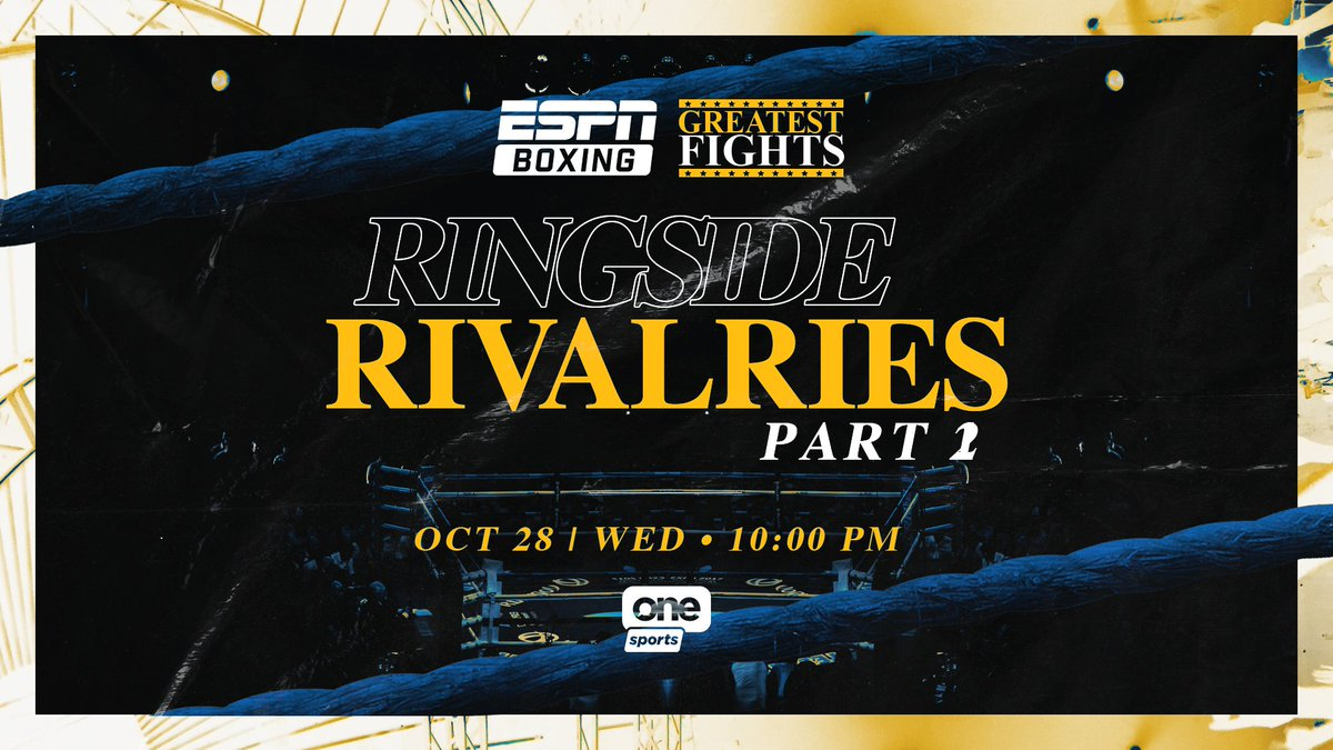 #ESPNBoxing Greatest Fights: Ringside Rivalries, Part 2  📅 October 28 ⏰ 10 p.m. 📺 @OneSportsPHL https://t.co/Nf6DbpHyEa