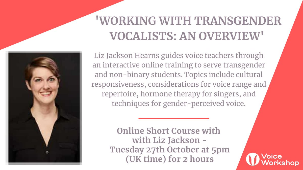 Today's the day! 'Working with Transgender Vocalists: An Overview'. Tuesday 27th October at 5pm (UK time) for 2 hours with Liz Jackson. Interested in booking? Visit our website for more information: https://t.co/i3NFpYEvZi #singing #vocalist #education #voicepedagogy https://t.co/neIp0ZroHO