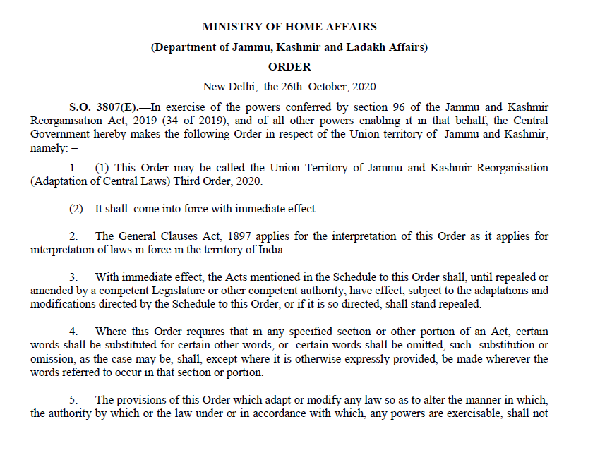 Jammu and Kashmir, Ladakh land laws: Home Ministry notified land laws, allowing anyone to buy land in Jammu and Kashmir, Ladakh.