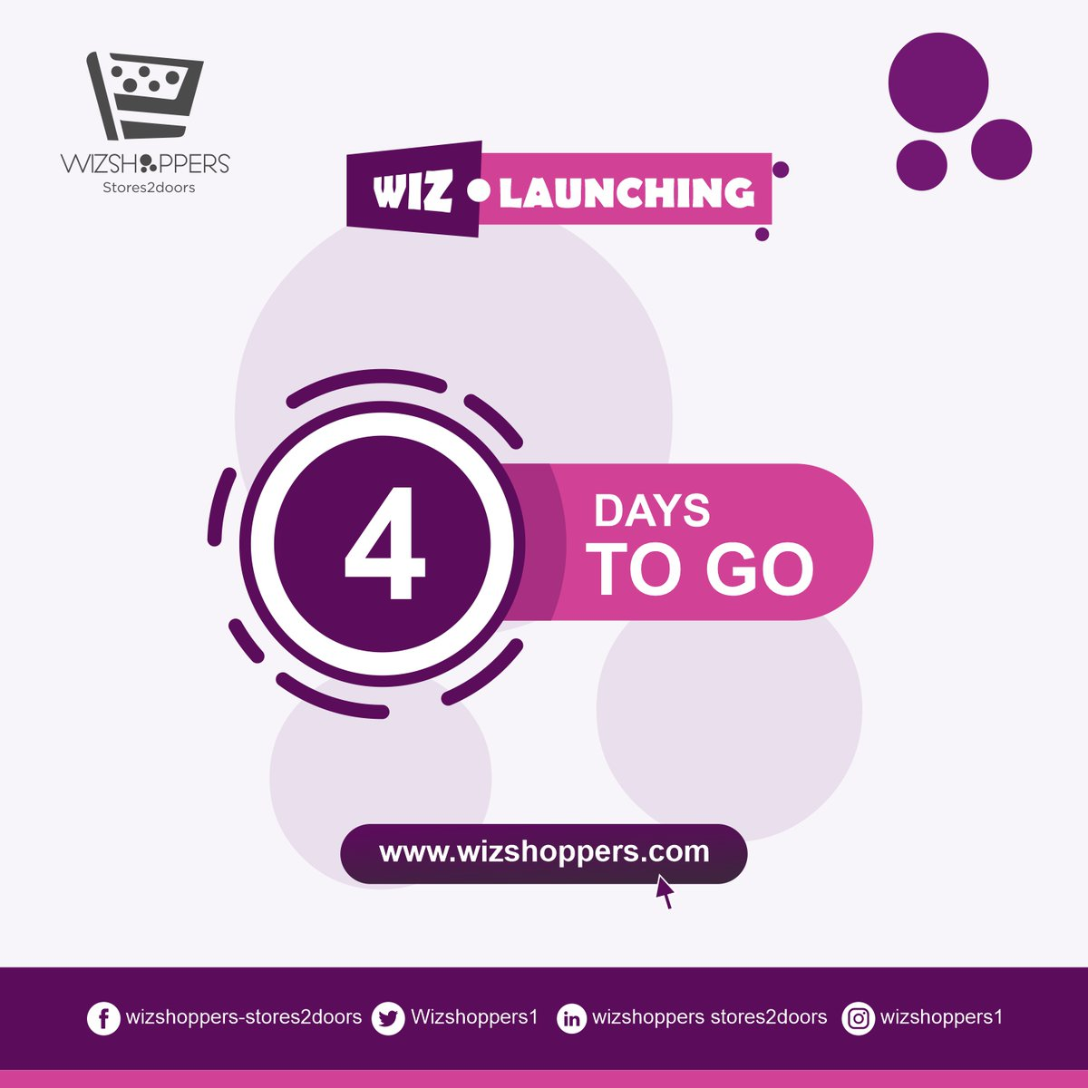 4 DAYS LEFT TO GO ARE YOU READY FOR WIZSHOPPERS LAUNCHING? . . . . . . . . . . #wizdomkey #wizshoppers #wizbizhub #onlineshopping #online #sales #sale #groceryshopping #businessowner #business #branding #brand #promote #ecommerce https://t.co/0eRag4dTHq