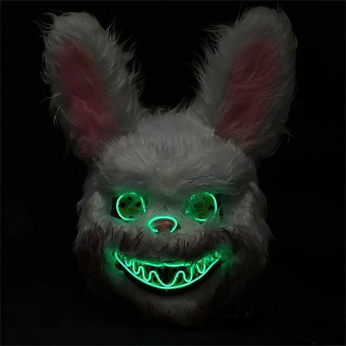 It's the juxtaposition that makes this a great Halloween mask. Cute bunny with floppy ears? Check. Evil grin with a spooky glow? Also, check. https://t.co/q0gnbcINsO https://t.co/BZbcXlOWcF