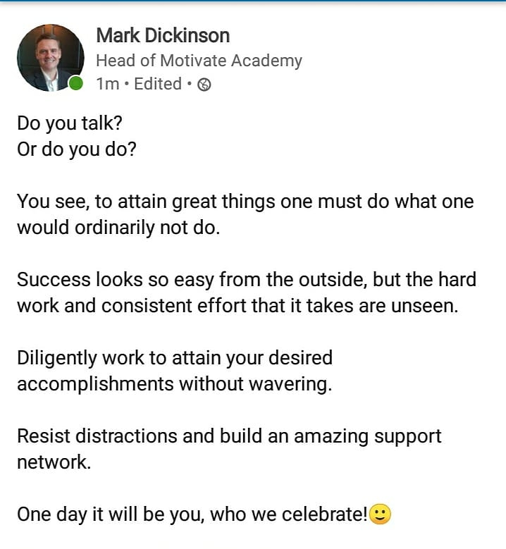 Do you talk? Or do you do?  You see, to attain great things one must do what one would ordinarily not do.  Success looks so easy from the outside, but the hard work and consistent effort that it takes are unseen.  One day it will be you, who we #celebrate!🙂  #consistant #efforts https://t.co/I0rR7rXVWI