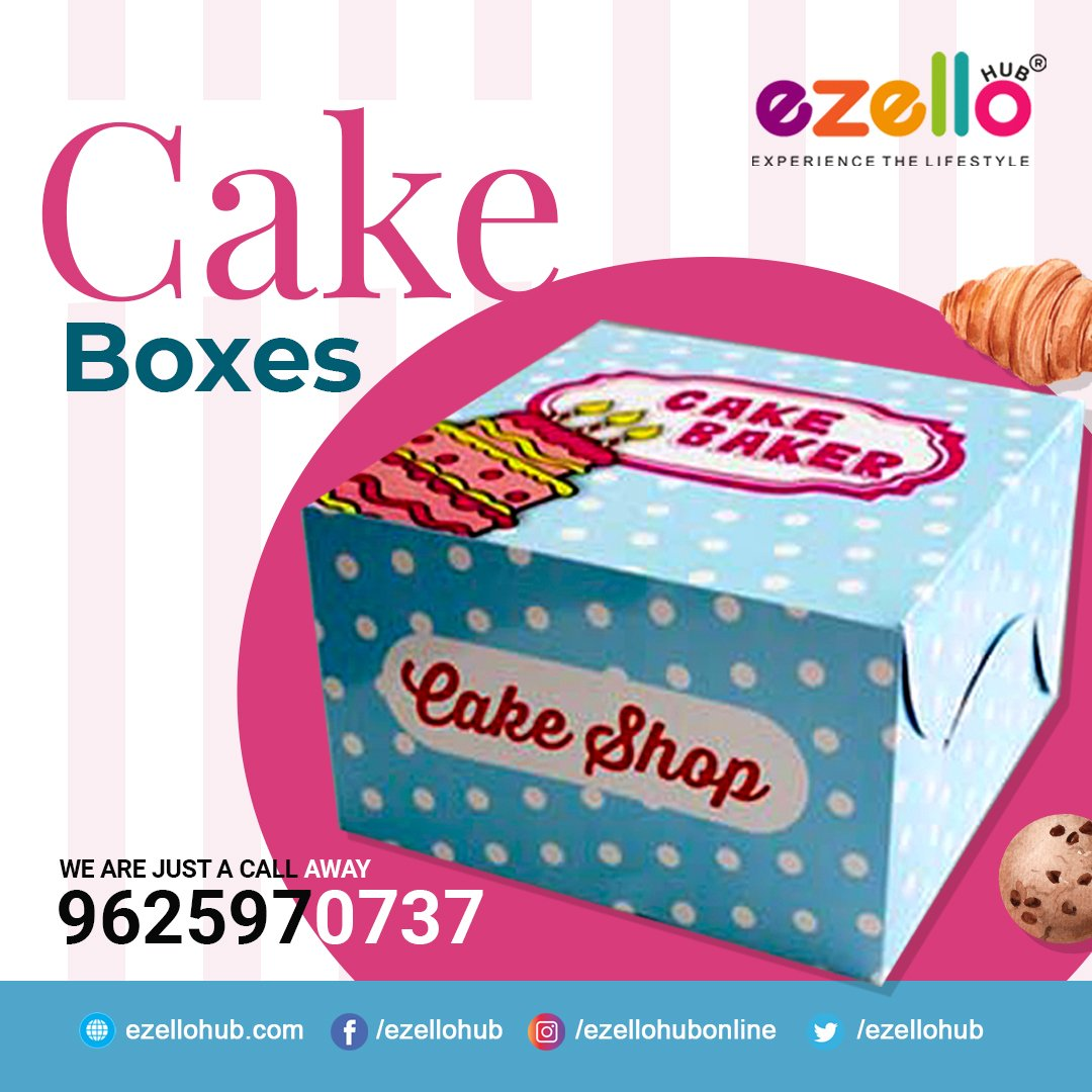 """Buy the Best quality printed Cake and Pastry Boxes!  """"Ezellohub"""": A trusted name in the food packaging industry🤘  🛒BUY NOW ONLINE : https://t.co/qmTgyHbrN4  👉These cake/pastry boxes are made of premium quality 400 GSM paper.  #cake #box #pastry #party #pastrybox #burgerbox https://t.co/qwuNpsWCww"""