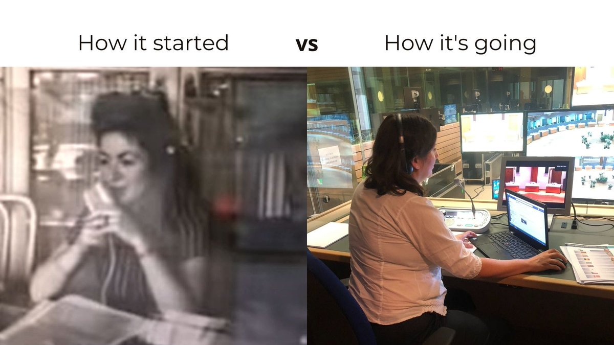 How it started ↔️ How it's going.  Today is World #AudioVisual Heritage Day. This is what a #1nt set-up looked like almost 60 years ago! It's good that there's been so many advancements since. Let's see what the next 60 years will bring! #HowItStartedHowItsGoing #Interpreting4EU https://t.co/O03nvINGv3
