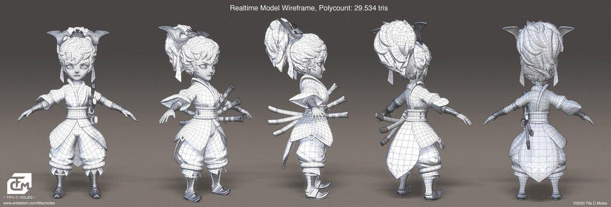 Example of my Swordwoman 3D model wireframe! 29.534 tris in total 😋 You can see more renders here: https://t.co/ILx92grZyN  #3dart #3Danimation #3dmodeling #3dartist https://t.co/CajDgElbSK