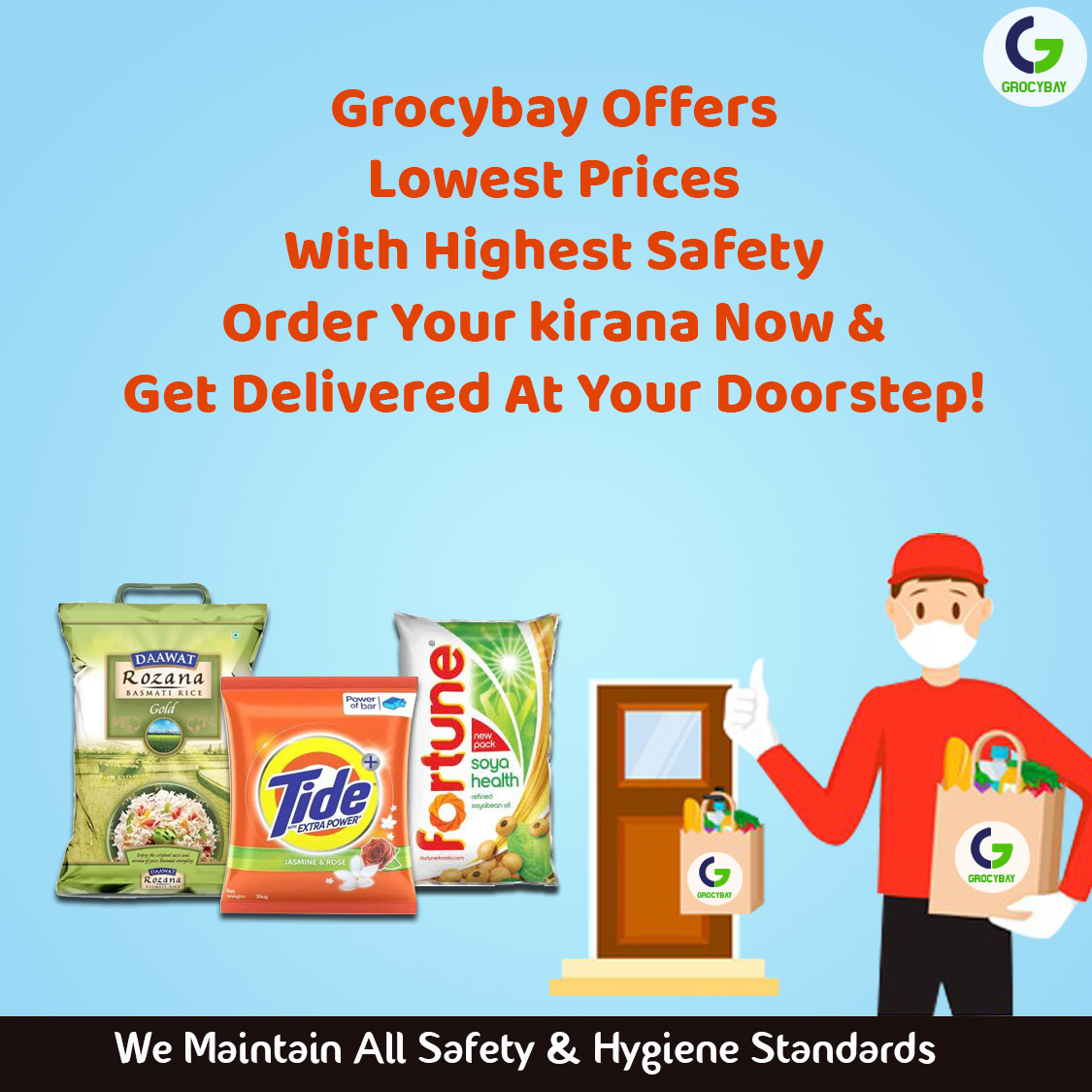 Order your kirana from Grocybay and get delivered at your doorstep 🏡  We maintain proper hygiene and safety☺️ https://t.co/nh2YtbxO8V  #grocybay #onlinestore #onlinegrocery #onlinegrocerystore #groceryshopping #grocerystore #onlinegroceryshopping #doorstepdelivery https://t.co/7OIfuklVGq