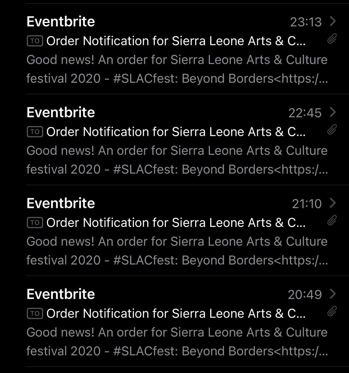 So... the @Young_Salone KUSHƐ newsletter actually works 😲  Sent a last minute reminder about #SLACfest last night and woke up this morning to multiple Eventbrite notifications with names I recognise from our newsletter subscribers 👏🏾  Kam Jɔyn wi! 🎫   https://t.co/hn4djx6xEx https://t.co/KEBuhYqT6m