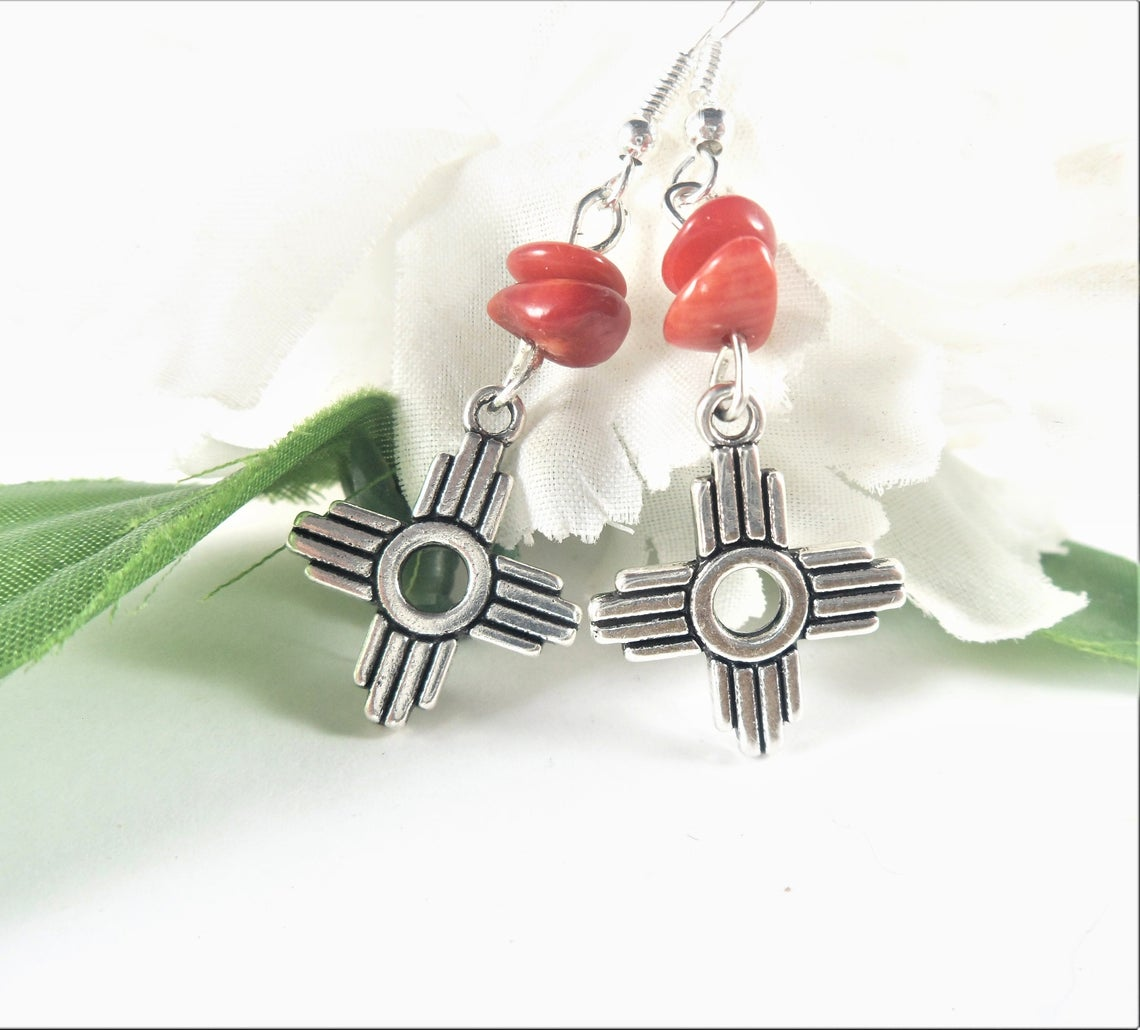 Show your New Mexican pride with these red coral Zia Sun Symbol charm earrings. Great everyday or party earrings for any woman!  https://t.co/qoqHvuwwMP #newmexico https://t.co/p9WW9fjDAm