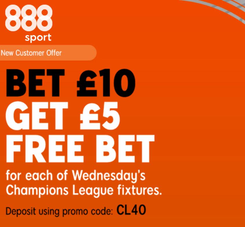 Get a £5 FREE BET for EVERY #UCL MATCH TODAY when you bet £10 with @888sport! 🤩  Claim yours HERE: https://t.co/IIzqYUqwOQ  🔞 | New customer offer | T&Cs apply | https://t.co/ajiA03ZuyV | #Ad https://t.co/OITnRdwQyc