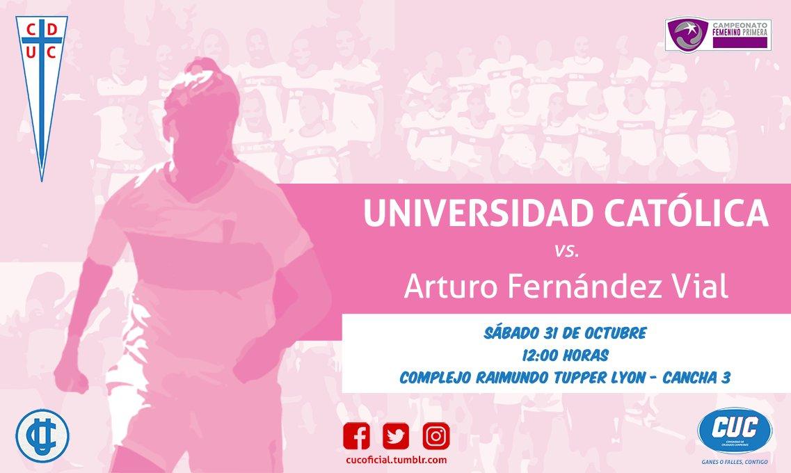 SÁBADO  #CampeonatoFemenino 2020 - Fecha 1  UNIVERSIDAD CATÓLICA vs A. Fernández Vial ⌚️12:00 🏟️Comp. Raimundo Tupper - Cancha 3  CON TODO, CRUZADAS!!! 🙌👊  #FutbolFemeninoUC #FFUC #LasCruzadas ⚪️💗⚪️ #LosCruzados https://t.co/XZqC3zlsdF
