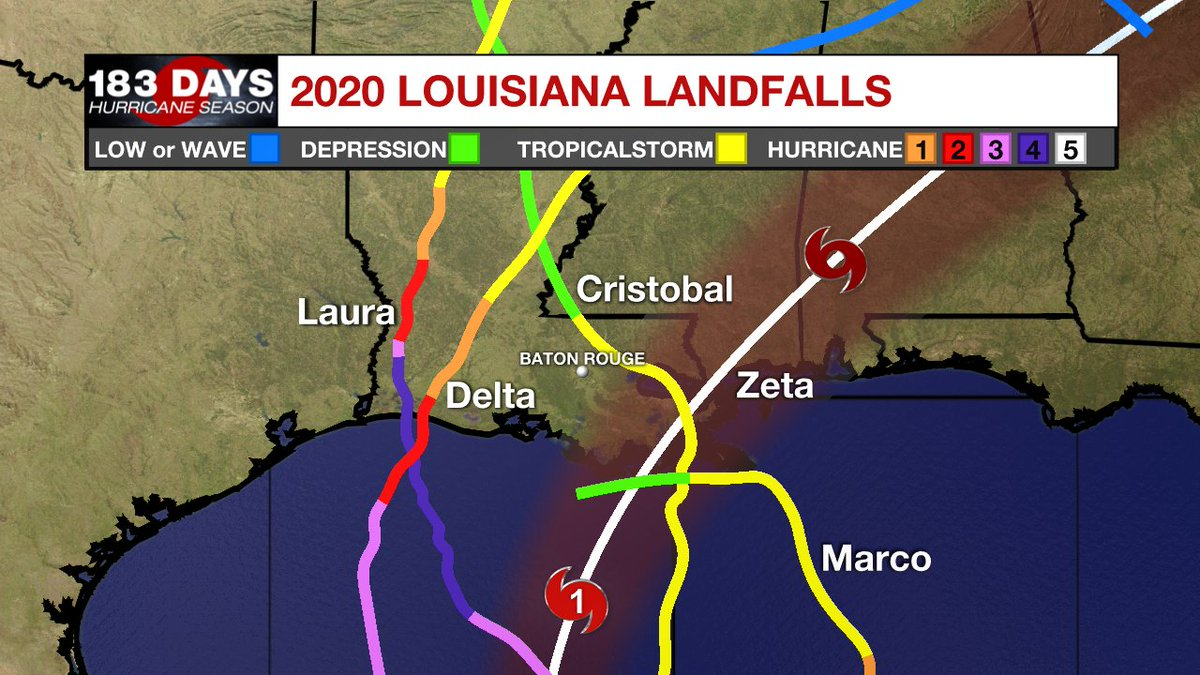 If #Zeta makes landfall in Louisiana, as forecast, it will be the 5th named storm to do so this year. It would break the previous record of 4 storms in one season. History is being made before our eyes. ZETA FORECAST: wbrz.com/news/the-lates…