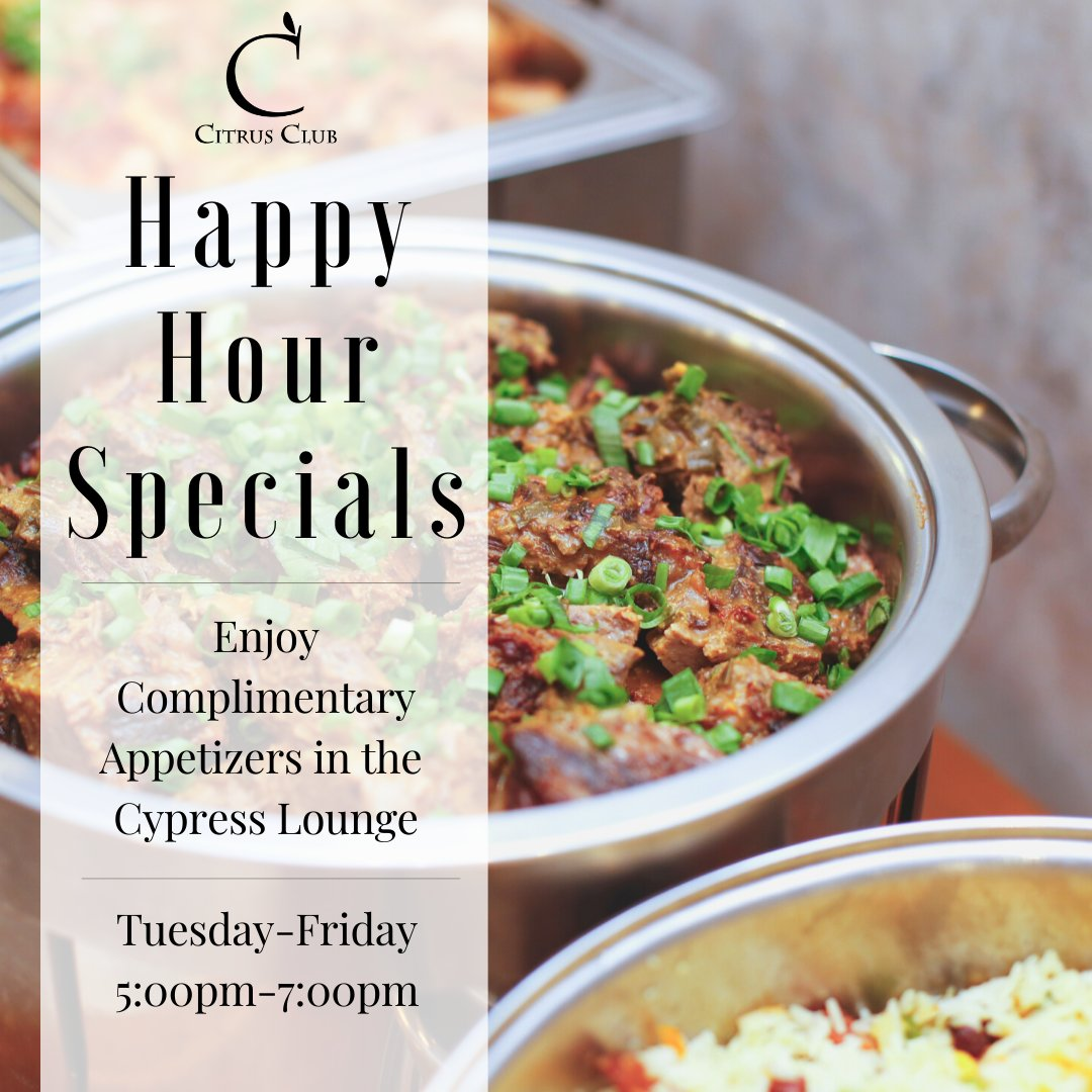 Happy Hour in Cypress Lounge; Tuesday 5-8pm and Wednesday-Friday 5-7pm 🍊 #CitrusClub #HappyHour #foodie #DowntownOrlando #cypresslounge #cocktailsofinstagram #cocktails #happiesthour #ClubCorp #Orlando #memberpride #drinkspecials #bar #orlandorestaurants https://t.co/6ZBh7ZlLiM