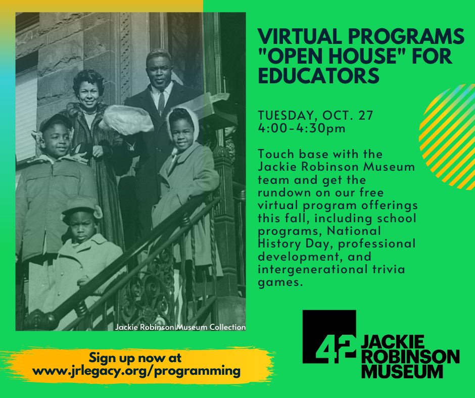 Educators, dont miss the #JackieRobinsonMuseum's free virtual open house TODAY at 4-4:30pm ET to touch base with the team and get the rundown on our virtual program offerings this fall! Register:zoom.us/meeting/regist…