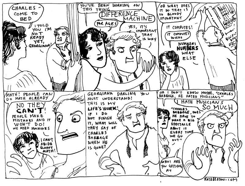 Pra não terminar a thread de um jeito tão triste (ainda que extremamente irônico), vou colocar aqui esse quadrinho da Kate Beaton sobre o Babbage que fala exatamente desse assunto.