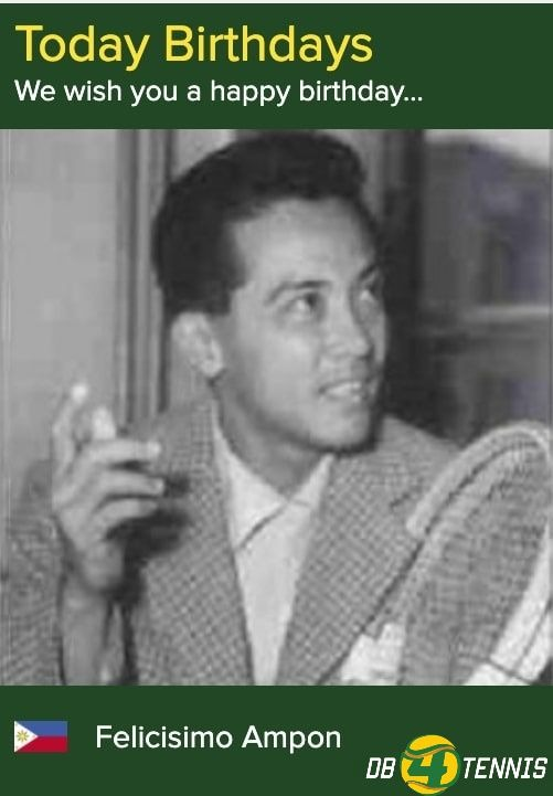 """100 years ago on this day born 𝐅𝐄𝐋𝐈𝐂𝐈𝐒𝐈𝐌𝐎 𝐀𝐌𝐏𝐎𝐍   theshortest male player ever w 4'11""""=1.50 m! The greatest 🇵🇭 🎾 player in history! The only 🇵🇭 reached QFs at a major('52-53 at RG) @NordeaOpen 🏆 (1951) Hold most record of 🇵🇭DC More info: https://t.co/IrZvTqmt22 https://t.co/cwxr4MEe6v"""