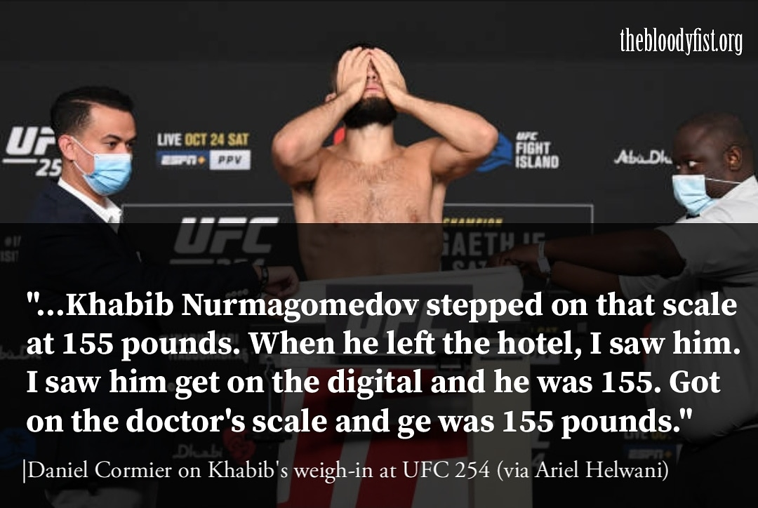 Daniel Cormier says there was no problem in Khabib's weigh cut.  #ufc254 #ufcfightisland #khabibvsgaethje #khabibnurmagomedov #justingaethje #danawhite #mma #ufc #boxing #bjj #muaythai #kickboxing #jiujitsu #fitness #martialarts #wrestling #fight #grappling #fighter #training https://t.co/OFsGj1W04D