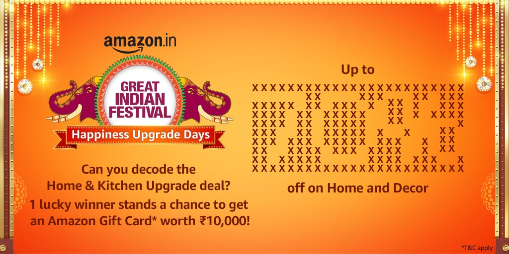 Have an eye for detail? Reveal the deal below! One lucky winner stands a chance to get a Home and Kitchen Upgrade with an Amazon Gift Card worth Rs.10,000!* Don't forget to tag @amazonIN and use #AmazonHappinessUpgradeDays!  T&C Apply: https://t.co/kj4lS43KRC https://t.co/PrH3KQ3LbD