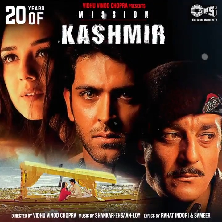 .@iHrithik, @realpreityzinta, @bindasbhidu & @duttsanjay starrer action thriller #MissionKashmir completes 20 years of release today!   Celebrate with @ShankarEhsanLoy's music from the film:  #20YearsOfMissionKashmir #HrithikRoshan #PreityZinta #SanjayDutt