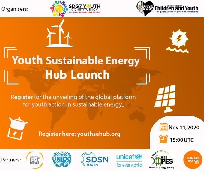 Join @DamilolaSDG7 @SEforALLorg, leading #SDG7 experts and youth advocates for the launch of the Youth Sustainable Energy Hub 💧☀️🌬️—the first global platform for youth action in #SustainableEnergy⚡#YSEH  📅 11 November 🕔 17:00 CET 🔗 https://t.co/0YeRLhd1VE https://t.co/LmgqCqkiDT
