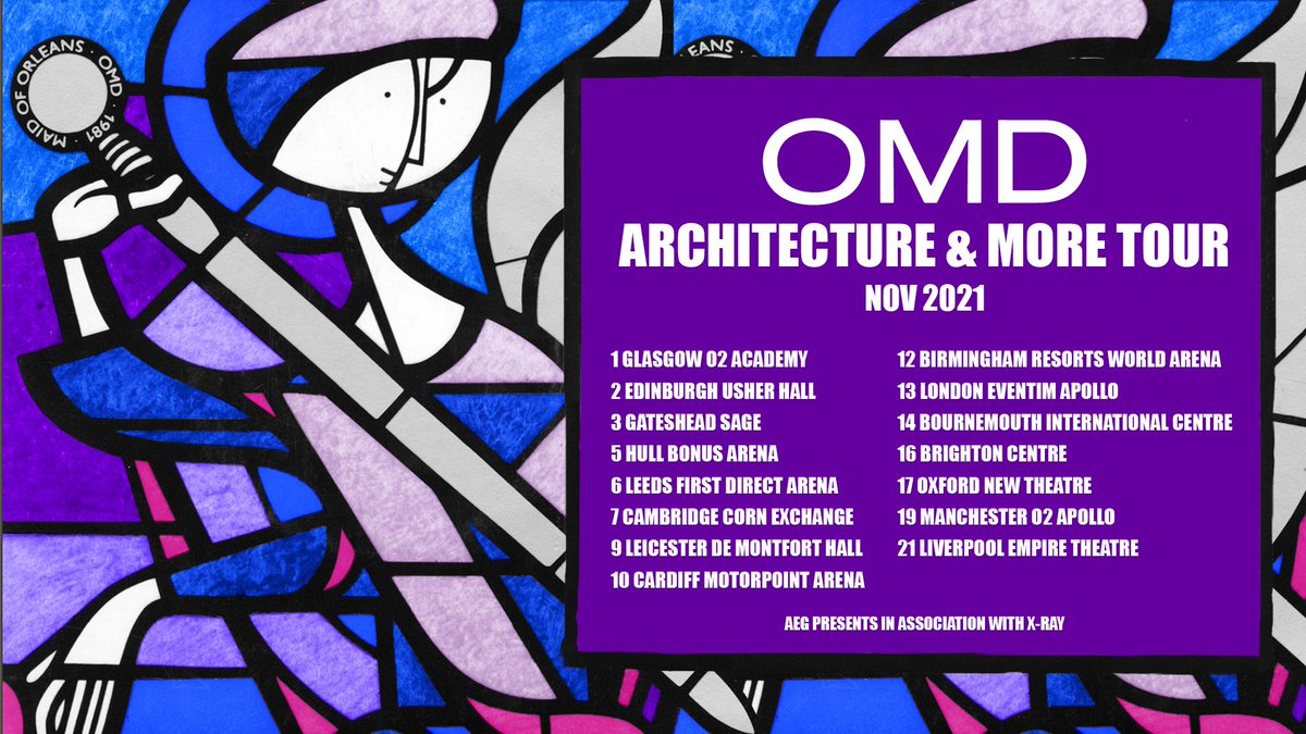 NEW // @OfficialOMD have announced dates for their 2021 'Architecture & More' tour. Tickets go on general sale 10am Friday: https://t.co/JscJDWg40r https://t.co/610GX3AaFB