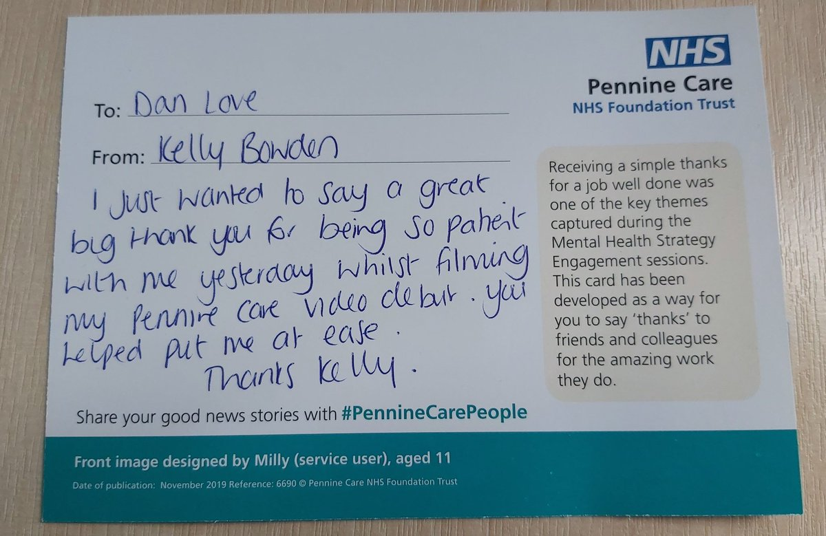 Thanks @kelly_bowden for the kind words and thank you card, you were a natural!   #PennineCarePeople - look out for Kelly's intro video coming soon, with an important message of #DontForgetFlu https://t.co/ci2x6AZgWc