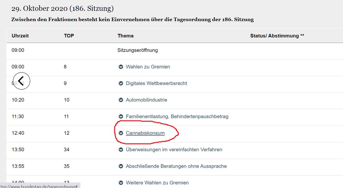 Offizielle Tagesordnung des #Bundestag: Am Donnerstag gibt es zwischen Familienentlastung u. Überweisungen den TOP #Cannabiskonsum von 12:40 bis 13:50 Uhr.  Über eine Stunde einen durchziehen im Parlament. Was für tolle Zeiten ;).  (Quelle: https://t.co/ToL7K7HCkQ) #LegalizeIt https://t.co/wQDfeA29dH