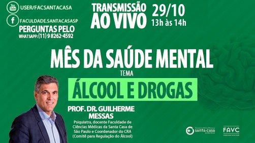 #Live   Mês da #SaúdeMental   29/10 de às 13h  Participação:   Prof. Dr. Guilherme Messas Psiquiatra, docente da #FCMSCSP e Coordenador do CRA (Comitê para Regulação do #Álcool)  Transmissão simultânea em:  ☑️ You Tube: https://t.co/E8ucklA5dS ☑️ Facebook: https://t.co/UqKLfi4qyi https://t.co/SyjlnO9QFk