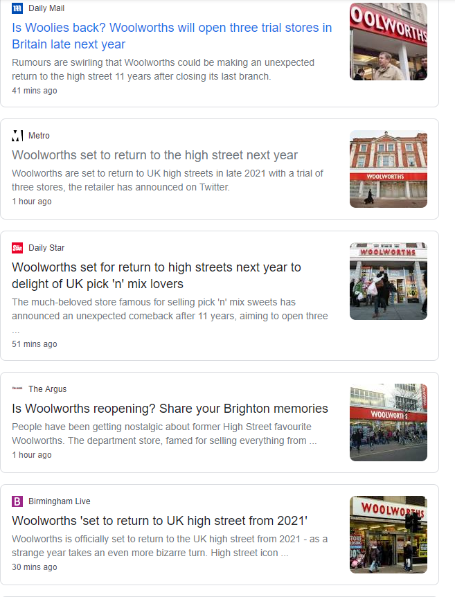 Every major online outlet has reported Woolworths is returning to the high street. One call from me to owner Verys PR - he doesnt know a thing about it. Surely a story based on a Twitter account with 900 followers (and spelling mistakes) should be verified?