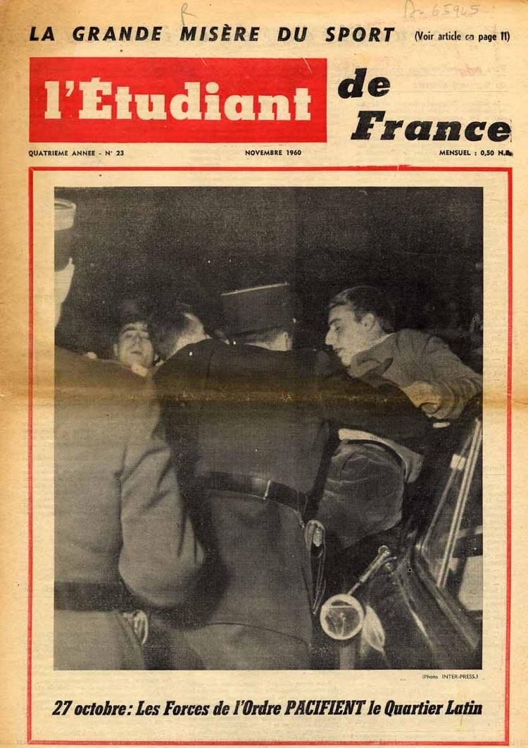 Il y a 60 ans: le 27 octobre 1960, les étudiants contre la guerre d'Algérie. A la mutualité meeting puis manifestation réprimée par les forces de police  du préfet Maurice Papon. https://t.co/HXz02eyNRR @MemoirEtudiante @Arch_JPL @EditionSyllepse @aaunef @lacontempo https://t.co/mr2908VfB6