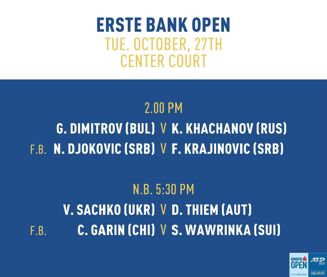 Today's matches on Center Court #erstebankopen https://t.co/u2UXN8axA6