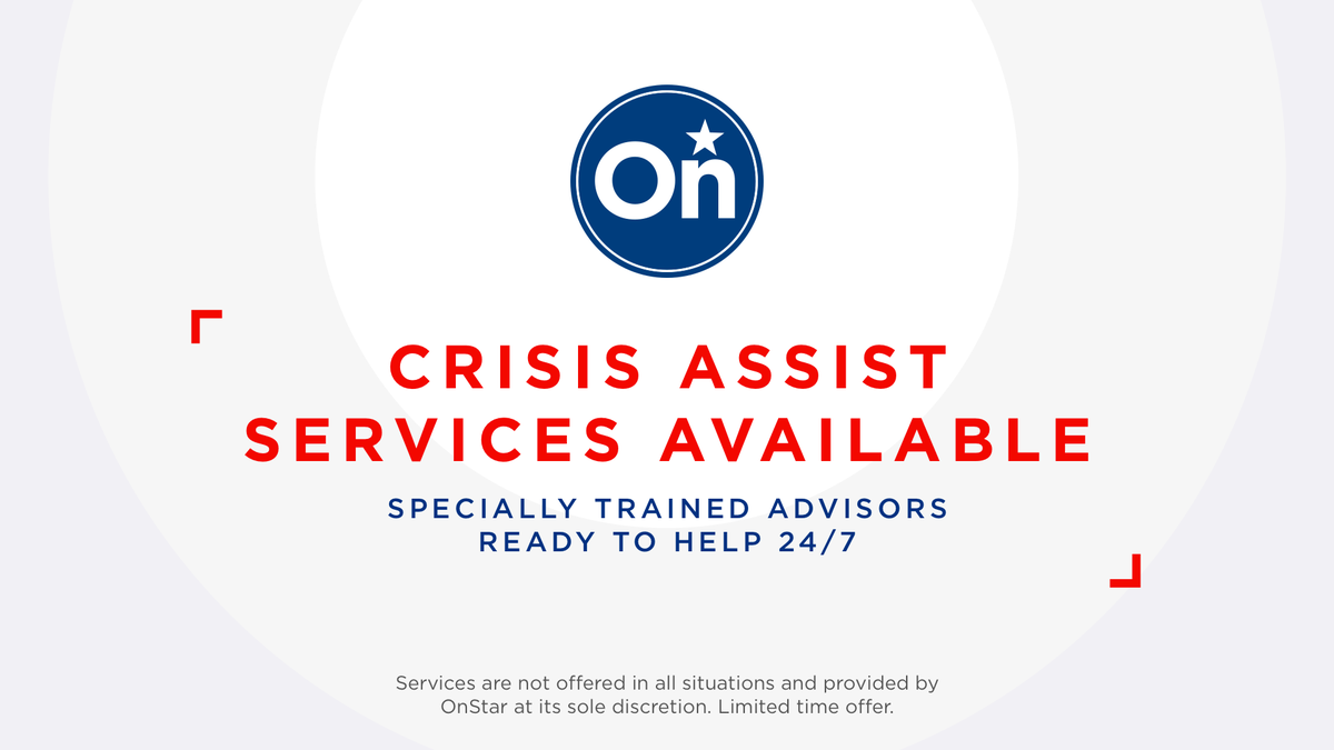 Service Alert >> We're now offering OnStar Crisis Assist and complimentary in-vehicle data to all current, eligible @Chevrolet, @Buick, @GMC and @Cadillac owners in the path of the #ColoradoWildfires. Push your blue #OnStar button for details and assistance. #BeSafeOutThere