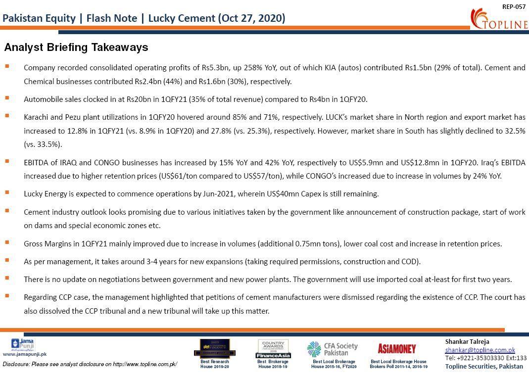 Topline Flash Note: Lucky Cement (LUCK): Analyst Briefing Takeaways #PSX #KSE100 #FrontierMarkets #EmergingMarkets #Topline #Pakistan #PakistanStockExchange #Economy #COVID19 #Cement https://t.co/TFqJggJZa5
