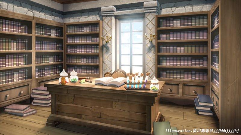 【仕事絵】先日デビューされたクロエ・イリスさんのお部屋を担当させて頂いてます!魔法学校に通いながら錬金術を勉強しているという事でしたので、錬金術などの道具や本があるお部屋を生成させて頂きました!#クロエ・イリス#Vtuber #背景イラスト