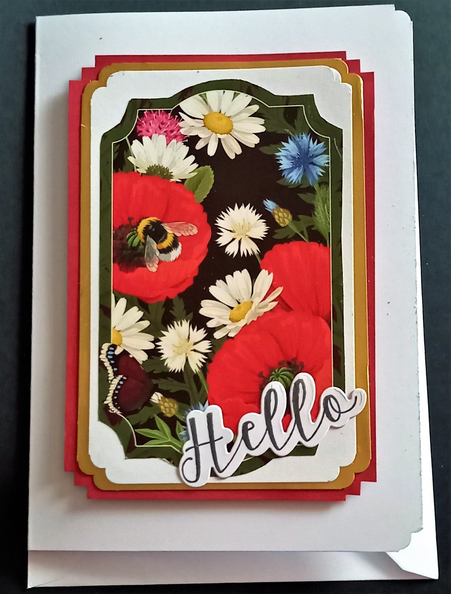Been playing with @hunkydorycrafts #poppies topper to make this #Hello (from @lisahortoncraft I think) themed 7x5in card. I used a #cornerpunch to make them more interesting..  #cardmakingfun #cardcrafting #greetingcards #handmadecards #craftaddicts https://t.co/mPy2xA2XGv