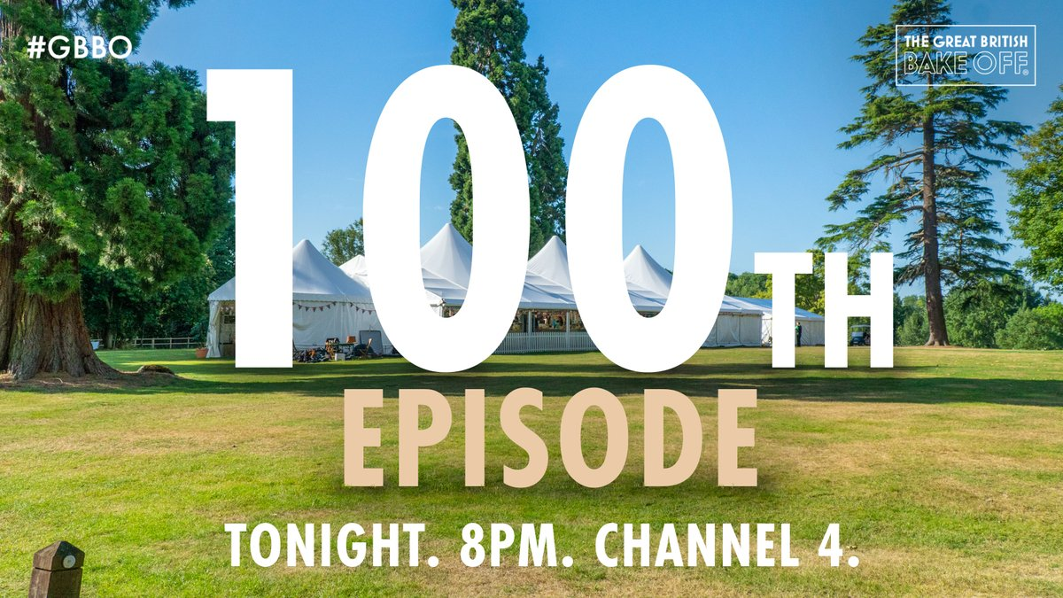 We're not one to blow our own crumpet but… tonight is the 100th episode of The Great British Bake Off! Through all the pies and doughs, thanks so much to everyone who joined us along the way and to you at home for watching our tent-based baking antics. Here's to 100 more! #GBBO