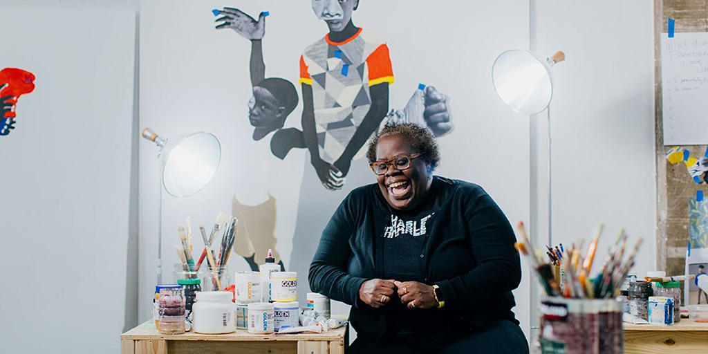 """Happy Hour with Deborah Roberts https://t.co/9D7bJ5sRbx Join us and @spelmanmuseum on Zoom as we toast to the success of """"Deborah Roberts: The Evolution of Mimi."""" Wed., Oct. 28, 7pm https://t.co/1HD8oZ9Odt"""