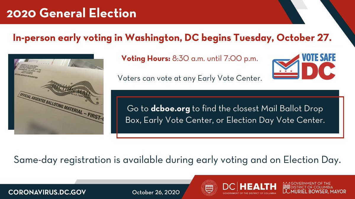 In-person, early voting starts today, DC - make a plan to vote, and don't wait until Election Day!  Get started at https://t.co/QgrvxBNdUN. https://t.co/tAuMU5peBC