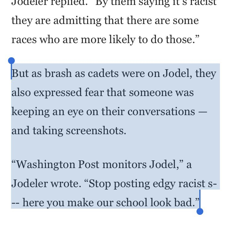 Here's the racist students at VMI insisting that the other racist students be less racist on social media, because they thought @ianshapira might be reading. He was. https://t.co/vtRJftc2yf https://t.co/mrXkRcovyS