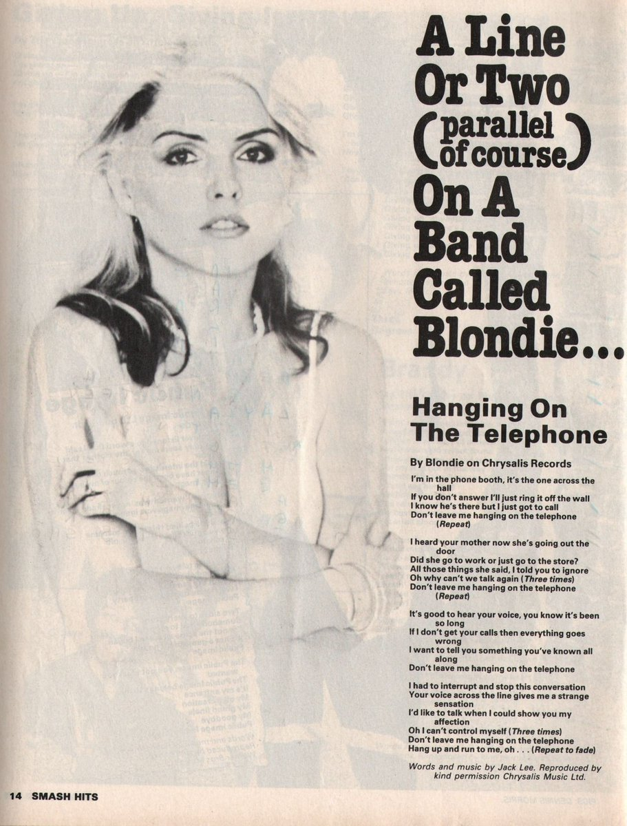 "🎶Wycombe Gigs - Paul Lewis on Twitter: ""Hanging On The Telephone - Blondie  Single released in UK #OTD 27th October 1978 A cover of a then relatively  unknown song by The Nerves."
