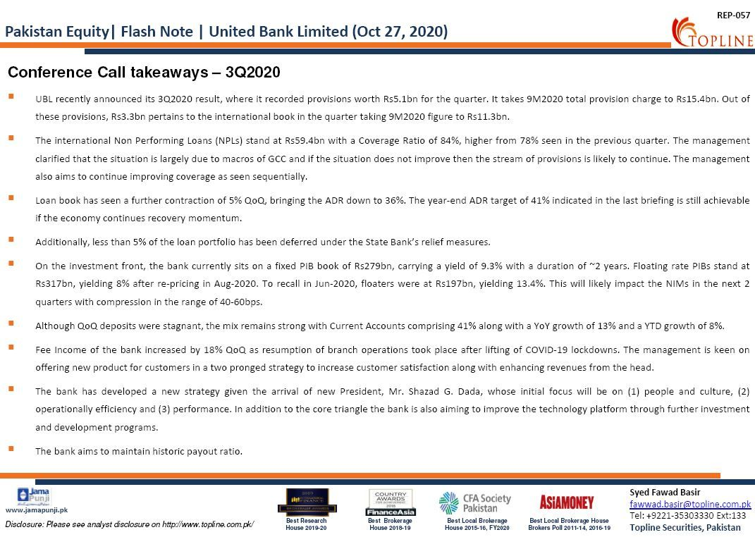 Topline Flash Note: United Bank Limited (UBL): Conference Call takeaways – 3Q2020 #PSX #KSE100 #FrontierMarkets #EmergingMarkets #Topline #Pakistan #PakistanStockExchange #Economy #COVID19 #Banks https://t.co/dPK26By6I4