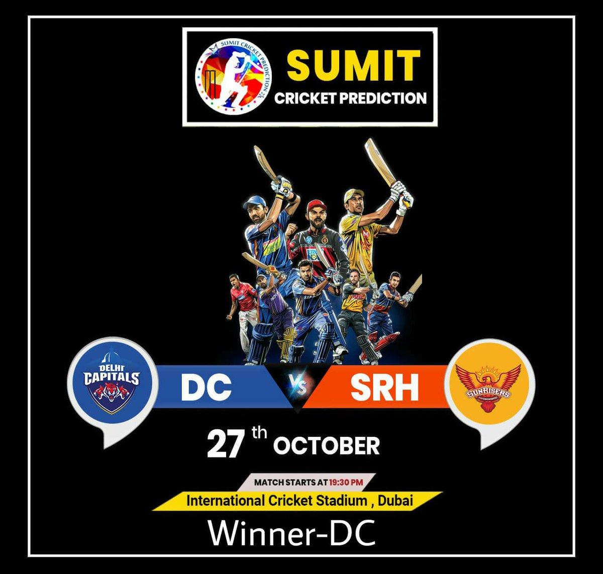 🏏   #IPL2020BigBlast 🏏  🏏 #DC Vs #SRH 🏏  ⚜️ Winner-#DC ⚜️   #IplT20 #Sumitprediction #Prediction #FreeTips #CricketPrediction  #IPL2020 #IPL  #TodayPrediction #BestTipper #CPL #Tipper  #FreeReport #CricketReport #MumbaiIndians #CKR #CSK #RR #KKR #DP #KXIP #SRH https://t.co/sPXOZ1cU5i