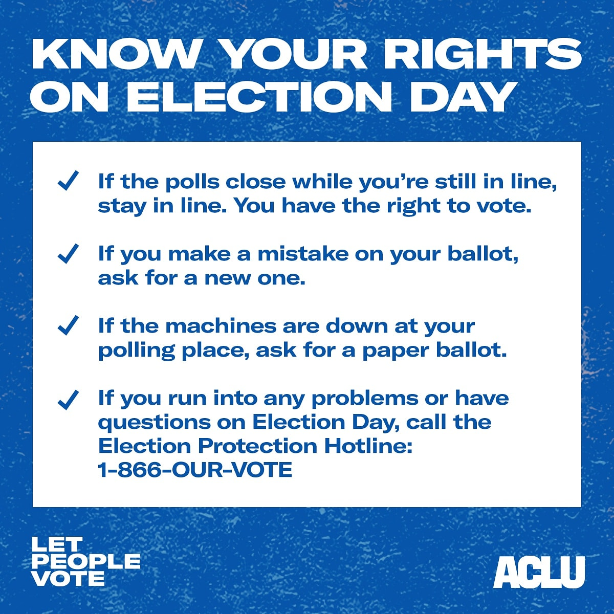 ELECTION DAY IS A WEEK AWAY! KNOW YOUR VOTING RIGHTS! Go to aclu.org/vote-now! @ACLU