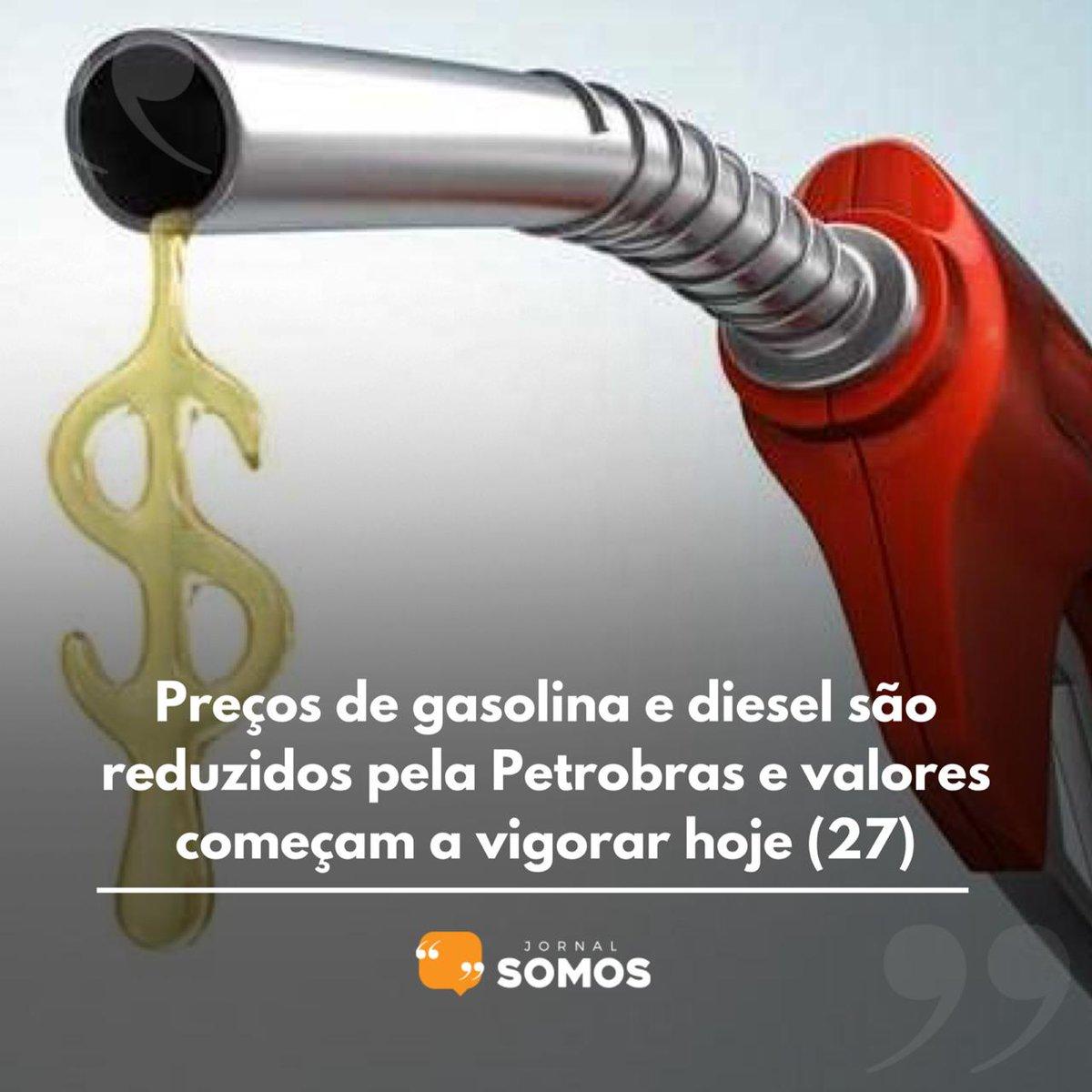 Preços de gasolina e diesel são reduzidos pela Petrobras e valores começam a vigorar hoje (27)  https://t.co/PeeEtieLxC  #combustivel #petrobrasfica #gasolina #diesel #etanol #alcool #reajuste #preço #dinheiro #Economia https://t.co/CMPyRh38Pg