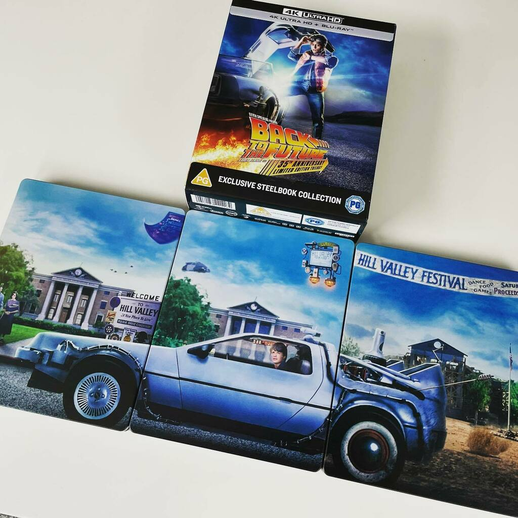 Loving the 4K ultra HD Back to the Future 35th Anniversary box set. These limited addition steelbooks are mint.  #backtothefuturetrilogy #backtothefuture #limitededition #4kultrahd #steelbook #35thanniversary https://t.co/StC6NK5x4R