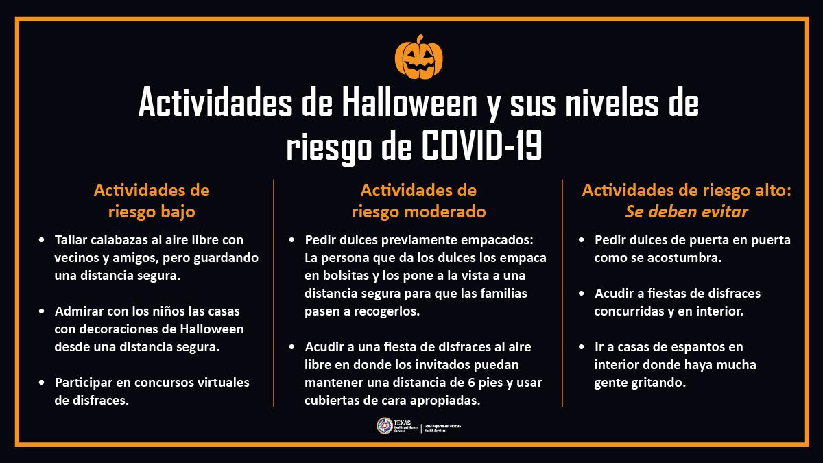 Este Halloween, asústate pero sigue protegiéndote. Evita hacer actividades de Halloween que sean de alto riesgo y sigue tomando las medidas de #TexasSano para detener el COVID-19 y la gripe: bit.ly/3jwwMFN