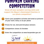 Have you carved your pumpkin and entered @HarpendenTown Council's pumpkin competition yet?  It closes on Saturday!