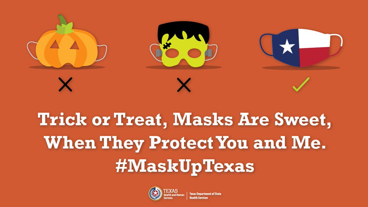 This #Halloween, remember to wear a protective mask and not just a spooky mask. Wash hands often, stay 6 feet apart and home if sick. #TexasDSHSNewsRelease: How to have a Spooktacular but #HealthyTexas Halloween English: bit.ly/3otsl2e Spanish: bit.ly/3jwwMFN