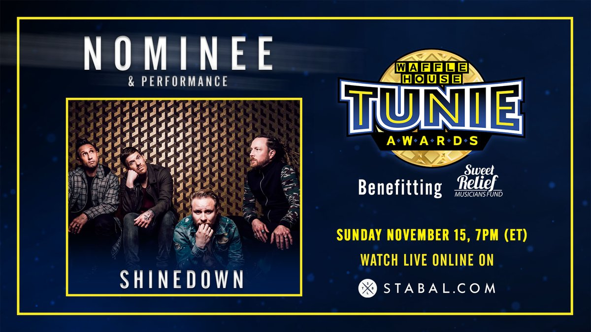 We've been nominated for a @WaffleHouse Tunie Award 🤘 Watch the show on November, 15th on Stabal: cutt.ly/tf8QB44 🎫 Get your tickets to the After-Show Party now for $3, and see an exclusive performance from @TheBrentSmith @ZMyersOfficial, all benefitting @SweetRelief!